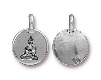 Buddha Charm Yoga Meditation Antique Silver Small Buddha Charm TierraCast Lead Free Pewter 17mm x 12mm 1 pc