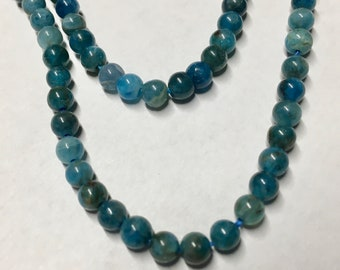 Blue Apatite 4mm Smooth Round Gemstone Beads Approx 52 Beads 8 inch Strand