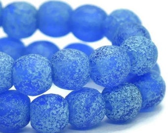Round Druk Beads 4mm Cobalt with Turquoise Wash and Etched Finish Czech Pressed Glass Rounds 50 beads