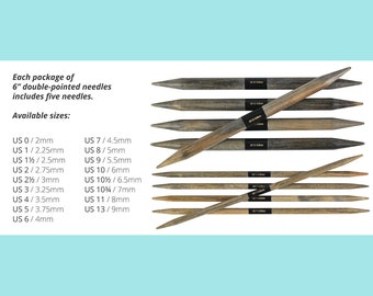 Double Point Lykke 6 Inch Double Pointed Needles Birch Wood Knitting 6 inch Long Set of 5 needles Pick Your Size