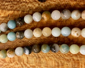 Amazonite Black Gold Smooth Gemstone Rounds Beads 8mm Approx 23 pcs per 8 inch strand