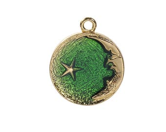 Clearance 4 Crescent Half Moon Star Green Enamel Gold Plated 27x23mm 4 pendants C202A
