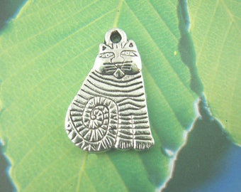 Sitting Cat Charms Antique Silver Tone Single Sided Sitting Striped Cat Charms 13mm x 21mm Great Detail 10 pcs C162