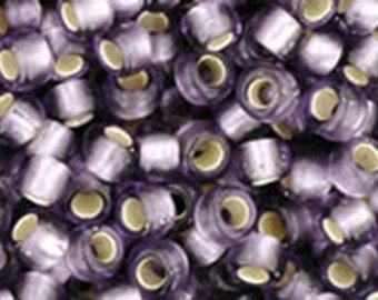 8/0 Silver Lined Frosted Light Tanzanite Toho Glass Seed Beads 2.5 inch tube 8 grams TR08-39F