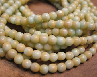 Mint Green and Beige Czech Pressed Glass Round Druk Beads 4mm 50 beads
