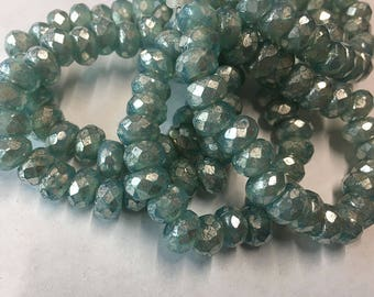 Light Aqua Czech Pressed Glass Large Hole Faceted Roller Beads with Mercury Look Silver Finish 6mm x 9mm 25 beads