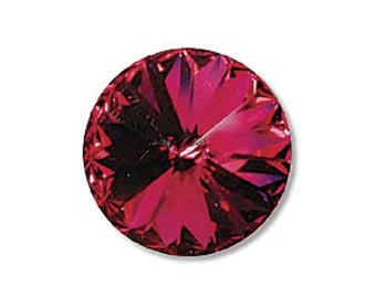 12mm Swarovski 1122 Fuchsia Faceted Foil Back Rivoli