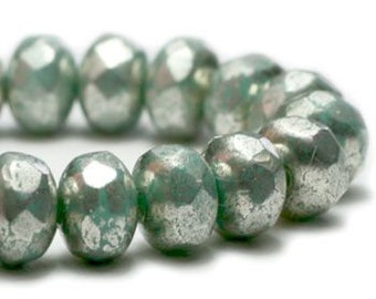 3x5mm Rondelle Blue Green with Mercury Finish Czech Pressed Glass Beads 30 beads