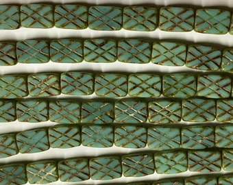Clearance 12 Turquoise Picasso Blue Green Rectangle Crosshatch Pattern 13x8mm 12 pcs