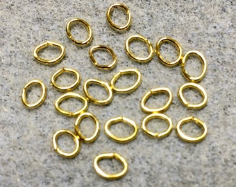 Oval Jump Rings 5x4mm Gold Plated Brass Unsoldered Oval Rings 20 or 40 pcs F514B