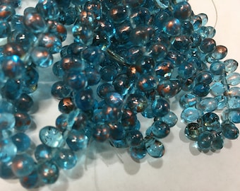50 Capri Blue with Copper Czech Pressed Glass Teardrop Beads 5mm x 7mm
