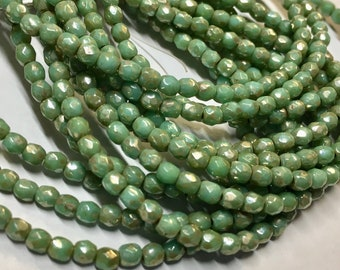 50 Fern Green Picasso Czech Glass Firepolished Crystal Beads 3mm Approx 50 beads