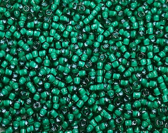 11/0 Green Color Lined White Japanese Seed Beads 6 Inch Tube 28 grams #327B