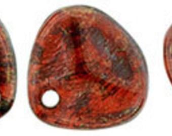 Rose Petal Beads Siam Ruby Bronze Pressed Glass Petals 7x8mm 25 pcs