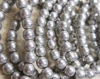25 Metallic Silver Czech Pressed Glass Round Druk Beads 6mm
