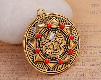 Clearance Sun Face Antique Gold Tone Pendant  Charm Engraved or Carved Design Crystal Rhinestone and Red Bead Detail 38mm x 30mm C210B