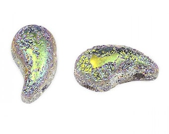 Zoliduo Bead Left Version Crystal Etching Vitrail Czech Pressed Glass Two Hole Paisley or Comma Shaped Beads 5mm x 8mm 30 beads