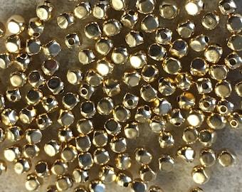 Gold Plated Brass 3mm Cornerless Cubes Approx 144 pcs