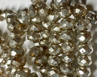 25 Yellow Gold with Mercury Finish Czech Pressed Glass Large Faceted Rondelles 6mm x 8mm 25 pcs