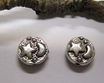 12 Antique Silver Pewter Double Sided Crescent Moon and Star Coin Beads 10mm F312