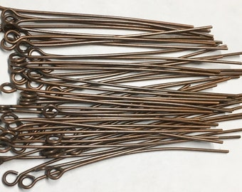 50 Antique Copper Plated Brass  2 inch Eye Pins 22 gauge Made in the USA 50 pcs F557