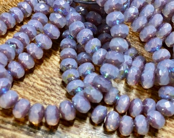 3x5mm Semi-transparent Pale Thistle with Bronze AB Finish Czech Pressed Glass Beads Small Faceted Rondelles  3mm x 5mm 30 beads