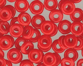O Beads Red Opaque Czech Glass Donut Ring Beads 3.8x1mm 6 grams