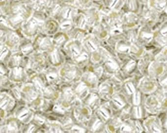 11/0 Crystal Silver Lined Toho Glass Seed Beads 2.5 inch tube 8 grams TR-11-21