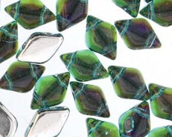 GemDuo Backlit Aquaholic Two Hole Gem Duo Czech Glass Beads 5x8mm 8 grams