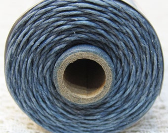 Denim Blue Waxed Linen Cord 4 ply 10 yards for Macrame Kumihimo Knotting
