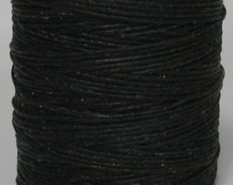 "Waxed Polyester Cord Black Maine Thread .040"" 1mm cord Waxed Cord Bracelets Wrap Bracelets Made in the USA One Spool 70 yards"