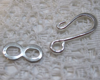 12 Silver Plated Brass Hook and Eye S Hook Clasps 17x7mm Made in the USA F304CA