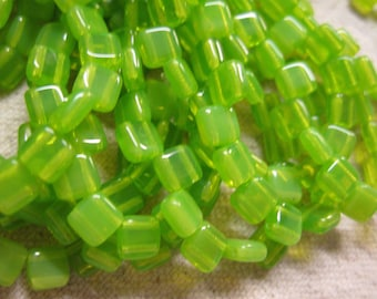 Mantis Green Czech Mates Two Hole Tile Beads Czech Pressed Glass Square Beads 6mm