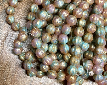 8mm Melon Beads Tea Green Dusty Pink with Gold Czech Pressed Glass Round Corrugated Melon Beads 8mm 20 beads