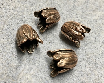 4 Vintage Style Ornate Small Tulip Bead Caps 11x9mm Antique Copper Plated Brass Made in the USA F552B