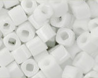Clearance Opaque White  3mm Toho Cube Beads 2.5 inch Tube 8 grams TC-03-41