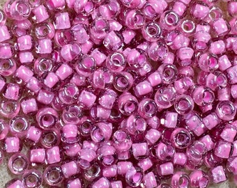 6/0 Pink Lined Crystal Japanese Seed Beads 6 Inch Tube 28 grams #395