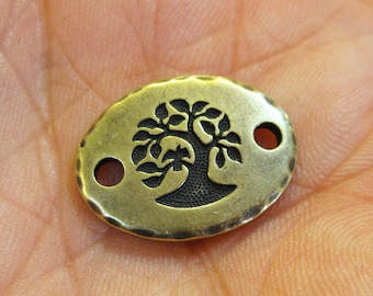 Antique Brass Bird in a Tree Link TierraCast Lead Free Pewter 20mm x 15mm One Connector