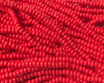8/0 Red Opaque Genuine Czech Glass Preciosa Rocaille Seed Beads 37 grams