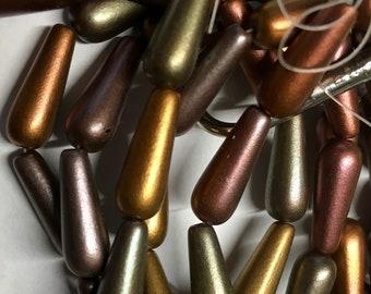 Metallic Mix Bronze Brass Green Pink Copper Gold Dangle Drops Czech Pressed Glass Teardrop Beads 6x15mm 10 beads