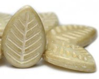 15 Ivory Large Flat Czech Pressed Glass Leaf Beads with Mercury Look Silver Finish 16mm x 12mm