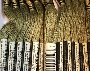 DMC 3012 Medium Khaki Green Embroidery Floss 2 Skeins 6 Strand Thread for Embroidery Cross Stitch Needlepoint Sewing Beading
