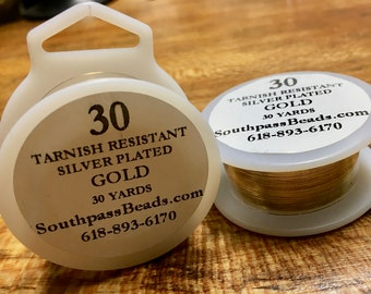 30 gauge Gold Tarnish Resistant Copper Craft Wire 30 yards Made in USA