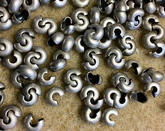 Crimp Covers Antique Silver Plated Crimps 5mm for Crimp Beads or Tubes 20 pcs F432