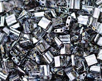 Smoky Black Matte Miyuki 5mm Square Two Hole Tila Beads 7.2 grams TL4511