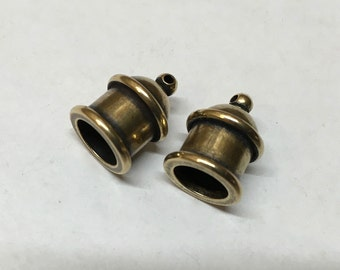 Cord End Tierra Cast Antique Brass Pagoda Recessed Channel for Leather Kumihimo 8mm ID 2 pcs