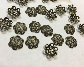 Bead Caps Hollow Flower Pattern Bronze Tone 11mmx10mm 40 pcs  F352