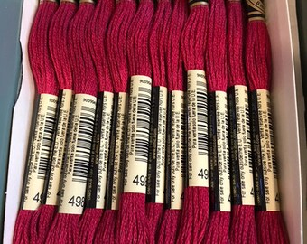 DMC 498 Dark Red Embroidery Floss 2 Skeins 6 Strand Thread for Embroidery Cross Stitch Needlepoint Sewing Beading