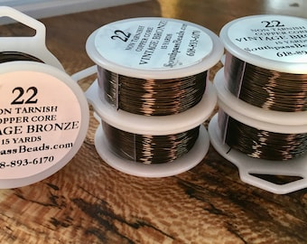 22 gauge Vintage Bronze Non Tarnish Copper Craft Wire 15 yards Made in USA