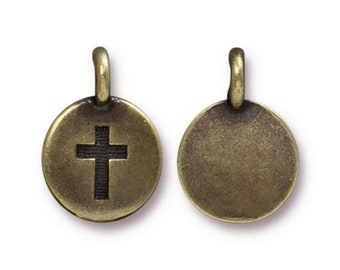 2 Cross Charm Religious Oxidized Brass Bronze Small Cross Charm TierraCast Lead Free Pewter 17mm x 12mm 2 charms F167